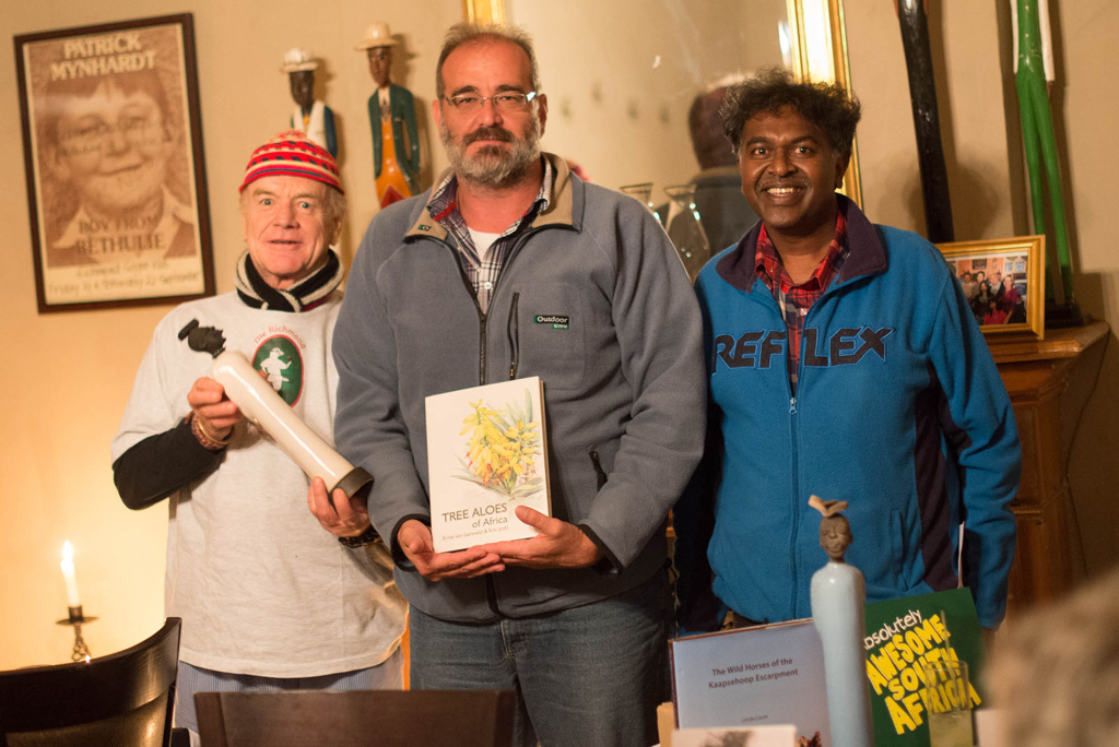 Wynand van Eeden's Penrock Publications wins an indie publisher's award for their 'Tree Aloes of Africa' by Ernst van Jaarsveld and Eric Judd. Wynand is flanked by Peter Baker and Darryl Earl David, co-organisers