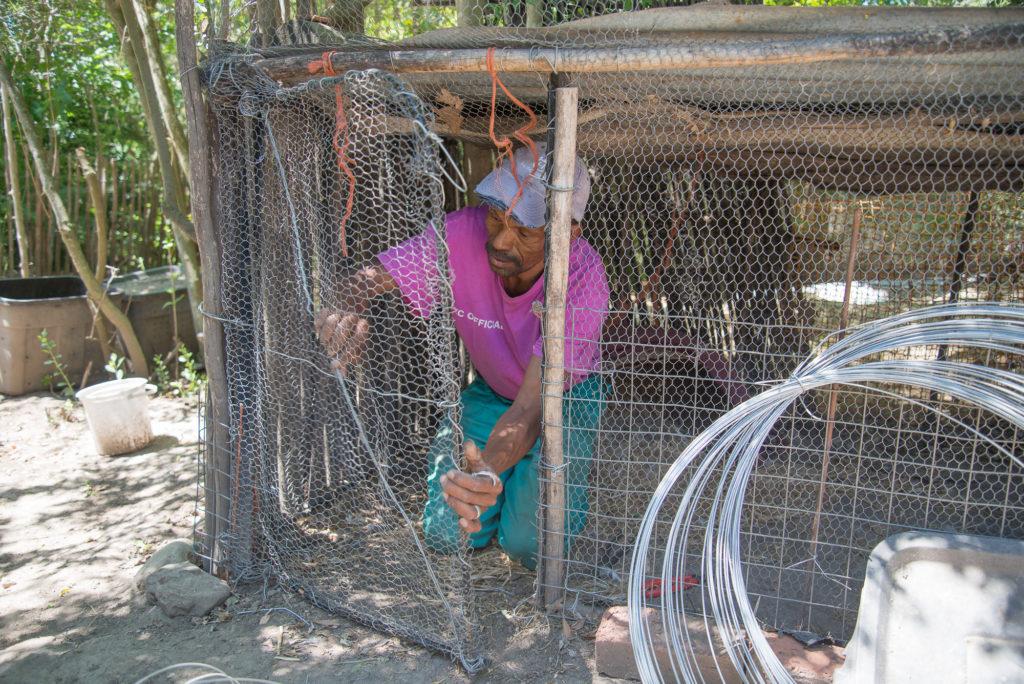Jakob Present repairing a chicken hok