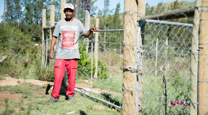 Japie Present standing alongside a fence he constructed