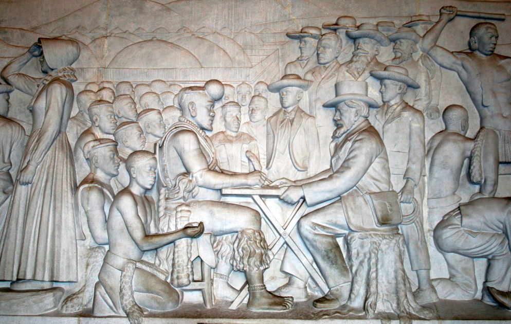 Image of a plaque in the Voortrekker Monument of the signing of the treaty between Dingane kaSenzangakhona and Boer leader Piet Retief